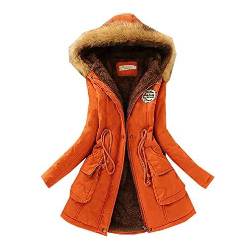 Winterjas dames Hooded Mid-Length Katoen-Gewatteerde Jas Slim Fit Plus Fluwelen Gewatteerde Warme Mid-Lengte Katoenen Jas - oranje - 5XL