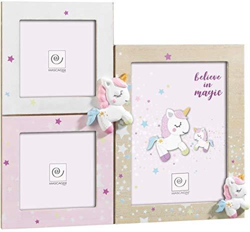 Mascagni Casa 8003426043387 - Juego de 3 marcos de fotos, diseño de unicornio, multicolor