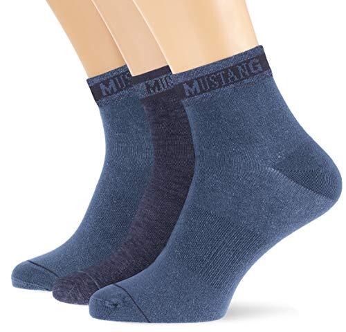 Mustang Socks Herren MU32007 Füßlinge, Blau (Jeans Mix 5703), 39/42 (3er Pack)