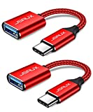USB C to USB Adapter [2 Pack], JSAUX USB Type C Male to USB 3.0 Female OTG Cable Thunderbolt3 to USB Adapter Compatible with MacBook Pro/Air 2019 2018 2017, Galaxy S20 S20+ Ultra Note 10 S9 S8-Red