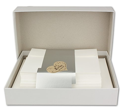 Kartenpaket DIN A6/C6 mit Faltkarten in Creme - Umschlägen in Creme mit Haftklebung - Einlegeblätter in Creme - Geschenkbox - 25 Sets - Für besondere Anlässe - Marke: Gustav NEUSER®