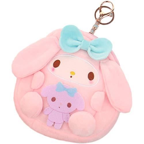 FUDEAM Soft Plush Japonés Conejo de dibujos animados de perro mujeres monedero mini lindo cremallera niñas animal monedero USB cable auricular bolsa