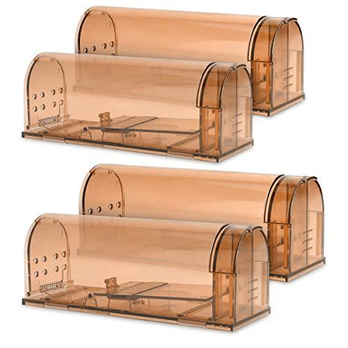Navaris 4X Trampa para Ratas - Set de 4 trampas para Ratones y Otros Animales pequeños - Ratonera de plástico de Color marrón