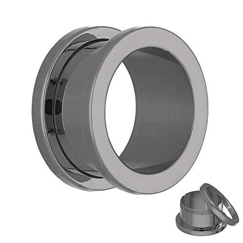 Treuheld® | 6mm Titan Ohr Flesh Tunnel | Silber |reines G23 Titan | Damen und Herren | mit Gewinde - Schraubverschluss/zum Schrauben