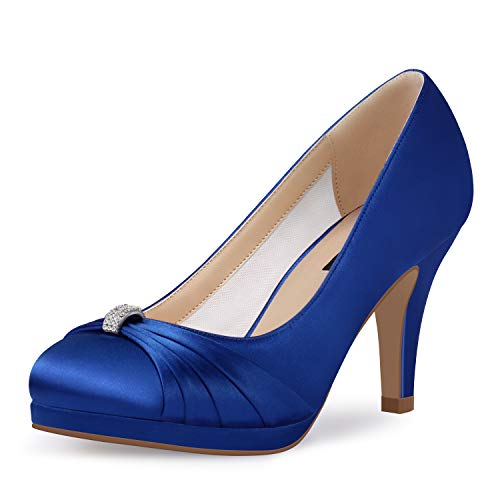 ERIJUNOR E0113 Women Comfortable Mid Heel Pumps Closed Toe Rhinestone Brooch Satin Evening Prom Wedding Shoes Blue Size11