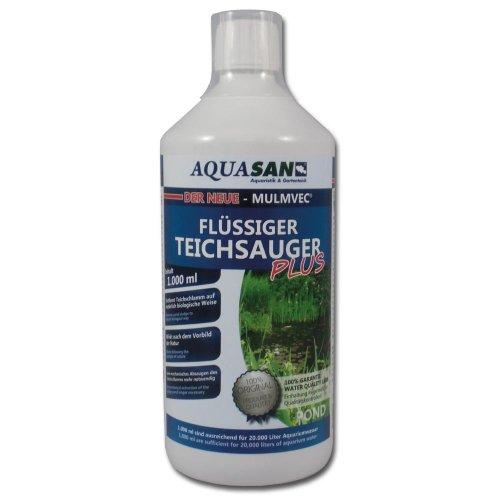 AQUASAN Gartenteich Mulmvec Flüssiger Teichsauger Plus (Kein mechanisches Absaugen von Schlamm und Mulm im Gartenteich mehr notwendig - Nie Wieder Teichschlamm), Inhalt:1 Liter