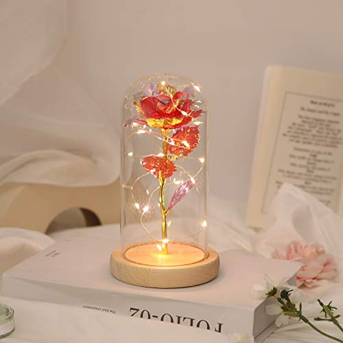 Beauty and The Beast Rose Colorful Flower Rose Valentines Day Gift for Women Galaxy Rose with Led Light in Glass Dome on Wooden Base, Forever Rose for her Wedding Anniversary Birthday Party Home Decor Silk Flower Arrangements