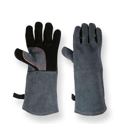 BearHoHo Guanti Resistenti al Calore, Multifunzione Grill Gloves, Guanti Extra Lungo Manicotto, Guanti Cooking (Nero e Grigio)