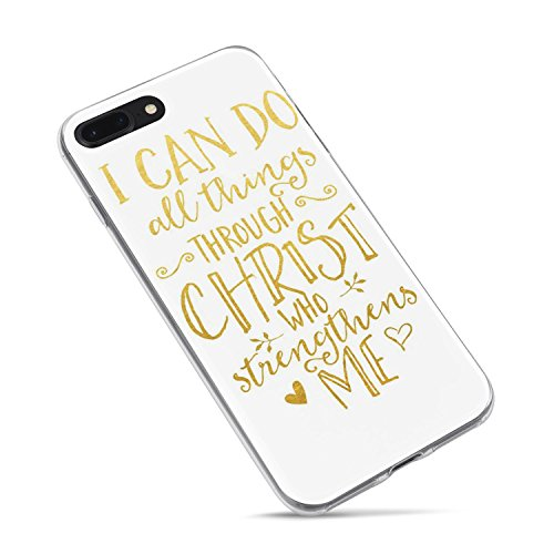 iPhone 7 Plus Girls Case,iPhone 8 Plus Case,Cute Bible Verses Christian Inspirational Quotes Can Do All Things Through Christ Soft Clear Side Case Compatible for iPhone 8 Plus/iPhone 7 Plus