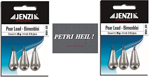 .Jenzi Set: 2 Packungen Birnenblei, 25 Gramm, 2 x 3 Stück,mit Wirbel/Öse .+ gratis Petri Heil! Aufkleber