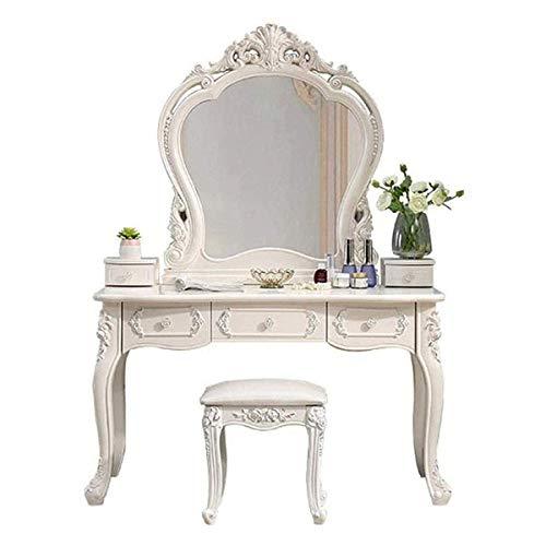 Juego de tocador, Muebles de Dormitorio de Escritorio de Maquillaje Simple Europeo, tocador romántico de Princesa con Taburete, Espejo y tocador de 3 cajones