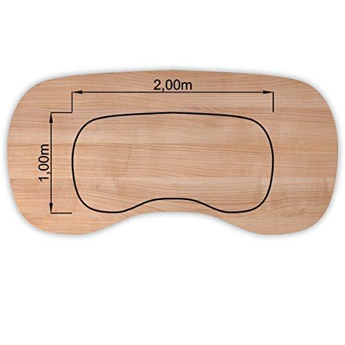 Bümö® stabile Tischplatte 2,5 cm stark - DIY Schreibtischplatte aus Holz | Bürotischplatte belastbar mit 120 kg | Spanholzplatte in vielen Formen & Dekoren| Platte für Büro, Tisch & mehr (Nierenform: 200 x 100 cm, Nussbaum)