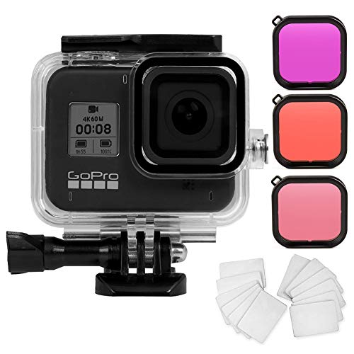 Meknic Waterproof Case for Gopro Hero 8 Black Kits with 60M/196FT Waterproof Protective Housing Diving Case Accessories + 3 Pack Diving Filters+ 12 PCS Anti-Fog Insert Kits for Gopro Hero 8 Action Cam