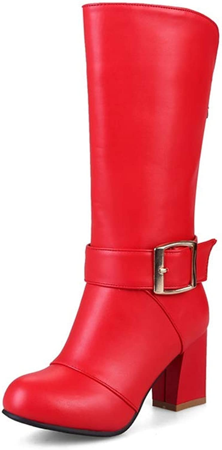 Gcanwea Woman Autumn Black Mid Calf Boots Winter White Red Mid Calf Boots Plus Size 34-43 Sexy Round Toe High Heeled shoes Breathable Dexterous Comfortable Joker Rubber Sole Black 8 M US Boots