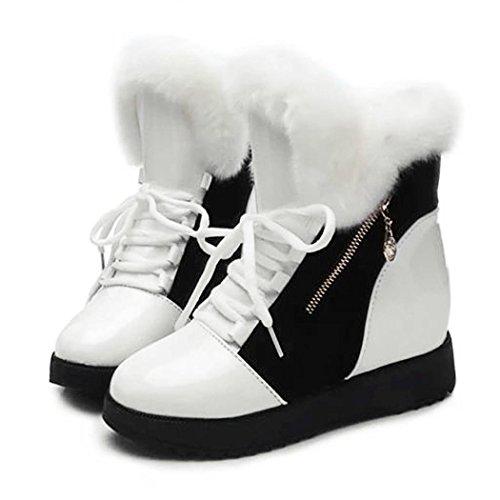 cooshional Stivali donna da neve Pelle verniciata e pellicce lana invernali casual 36-40 scarpe donna