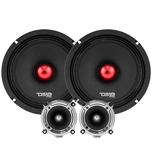 DS18 PRO-X8.4BMPK Mid and High Complete Package - Includes 2X Midrange Loudspeaker 8  and 2X Aluminum Super Bullet Tweeter 1  Built in Crossover - Door Speakers for Car or Truck Stereo Sound System