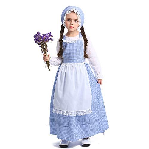 YIYEBAOFU Cosplay Halloween Weihnachten Neuheit Geschenk Kinder Drama Bühne Kostüm Pastoral Farm Kleid Flower Shop Mädchen KleidHöhe:130-140cm
