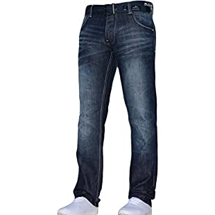 Mens Crosshatch Classic Straight Leg Regular Fit Stylish Denim Jeans JEANBASE All Waist & Sizes Free Belt Techno Dark Blue 40W X 34L