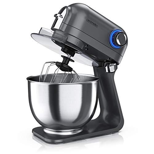 Arendo - leistungsstarke Küchenmaschine 5 Liter – Edelstahl Rührmaschine Knetmaschine – planetarisches Rührsystem - Edelstahlschüssel - inkl. 3 Rührwerkzeuge – 5 Schaltstufen - 1200 W - Cool Grey