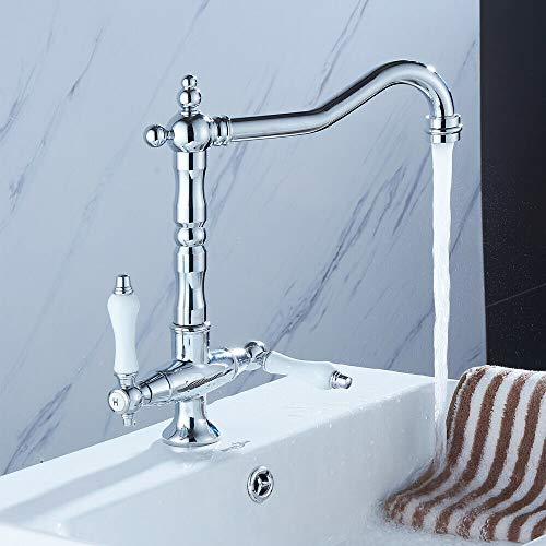 OUKANING Miscelatore per lavabo a Due rubinetti da Cucina e Bagno in Ottone Retro Miscelatore da 3/8 di Pollice