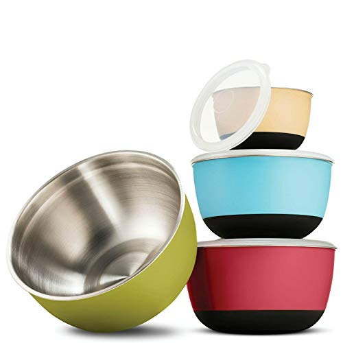 Multicolor Stainless Steel Mixing Bowls – Premium 4 Piece Set With Airtight Lids Baking provides Kitchen equipment Cooking utensils set Cooking utensils Kitchen utensils Kitchen equipment