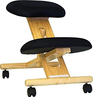 Flash Furniture Mobile Wooden Ergonomic Kneeling Office Chair in Black Fabric, WL-SB-210-GG