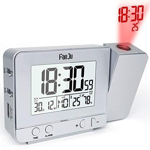 WHR-HARP Projektionswecker, Led Digital Wecker mit Projektion 180 °, Radiowecker mit USB, 12/24 Stunden, Doppelwecker mit 2 Weckern, Decken-Schlafzimmer-Projektionsuhr, für Heavy Sleeper, Snooze