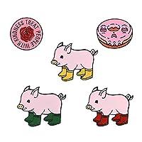 ピンクコレクションスタイルピンラウンドローズフラワーレインブーツピッグソフトエナメルラペルピンバッジブローチ