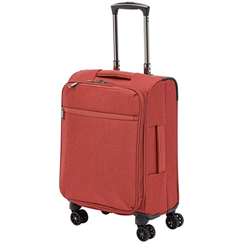 Amazon Basics – Maleta con ruedas flexible acolchada Belltown, 52 cm, Rojo