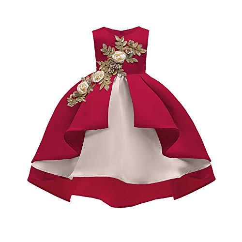 K-youth Vestidos de Fiesta para Niñas Elegantes Vestido Niña Vestido de Flores Sin Mangas Tutú Princesa Vestido Bebé Niña Ropa Niña Vestido Bebe Niña Bautizo Boda Ceremonia(Rojo, 4-5 años)