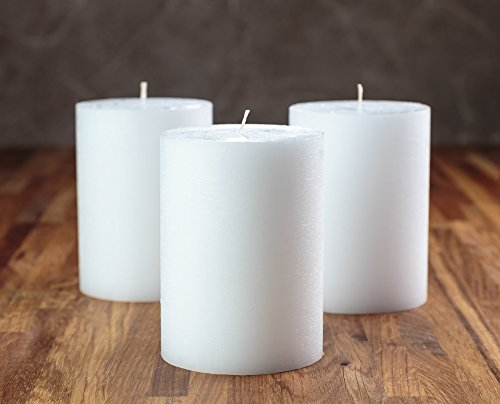 "Melt Candle Co White Pillar Candles 3"" x 4"" Set of 3 Unscented for Weddings, Home Decoration, Relaxation, Church, Spa, Smokeless Cotton Wick"