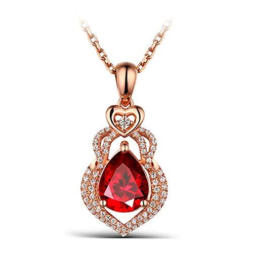 Epinki Mujer 18K Oro Rosa Collar 0.69ct Rubí Pera Corazón Collar para Boda