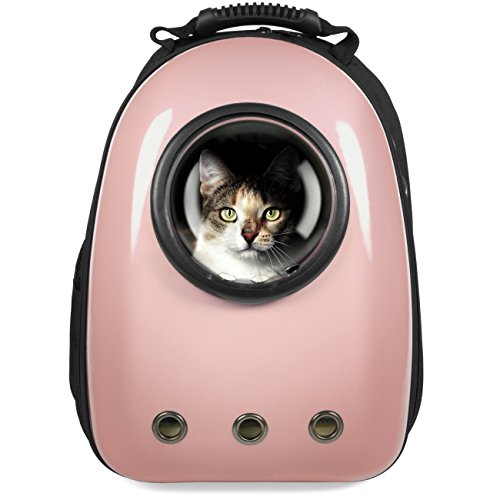 Best Choice Products Pet Carrier Space Capsule Backpack w/Bubble Window for Cats, Dogs, Small Animals - Rose Gold