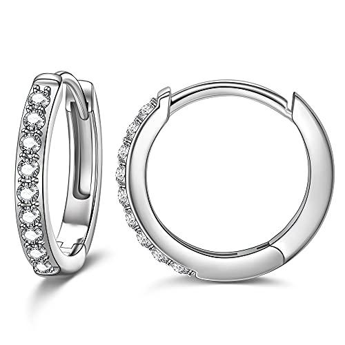 NINAMISS Pendientes de aro para mujer, pequeños aros con cristales austriacos, pendientes para mujer/hombre/niños plateado