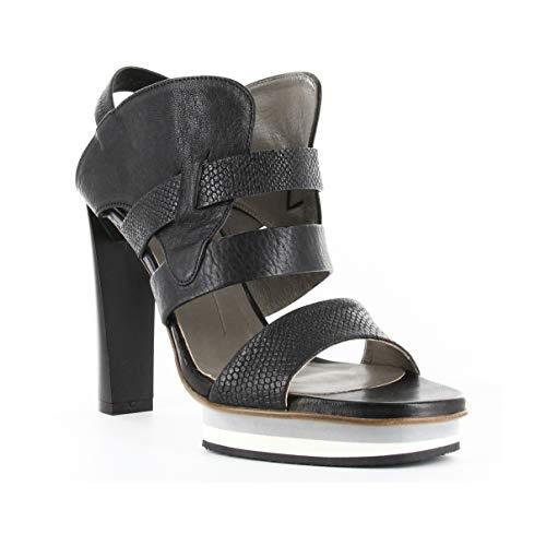 IXOS Sandale Glattleder Schwarz Damen Art X16E60054 Made in Italy (Absatzhöhe; cm 11, Plateau: cm 1.5) (39 EU)