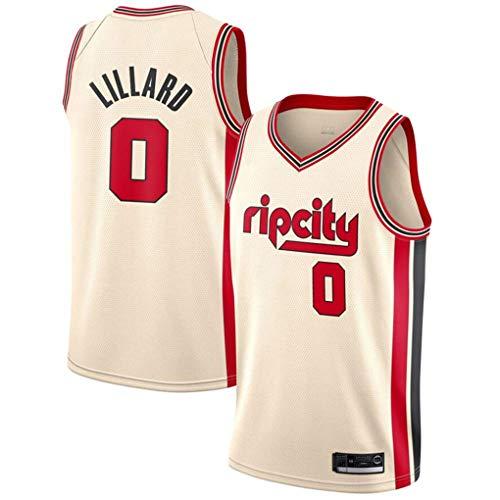 Miyapy NBA Jersey Portland Trail Blazers #0 Damian Lillard Sommer Herren Trikot Basketball Uniform Stickerei Tops Basketball Anzug Trikots Schwarzgold-Trikot