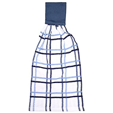 RITZ KitchenWears 100% Cotton Terry Hanging Kitchen Tie Towel, Multi-Check, Federal Blue