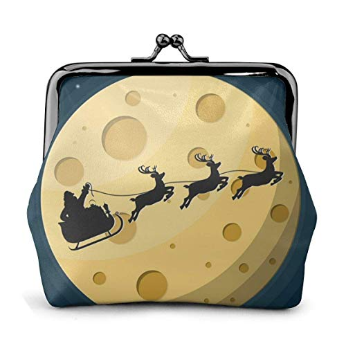 Santa Claus On Sleigh Full of Gifts and Reindeers Women Classic Lock Clutch Wallet Buckle Coin Purses