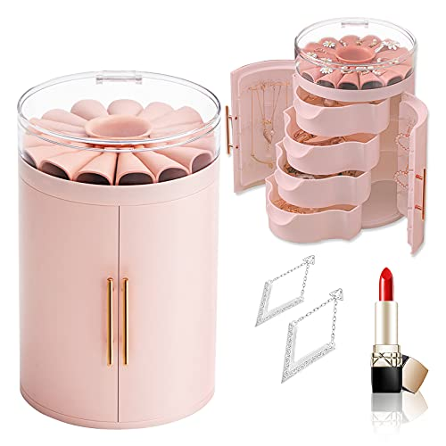 Asion Caja organizadora de joyas para pendientes, collar y anillo con tapa transparente con 4 cajones y almacenamiento para niñas y mujeres (rosa)