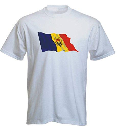 T-Shirt für Fußball LS116 Ländershirt L Mehrfarbig Moldova - Moldawien mit Fahne/Flagge - Fanshirt - Fasching - Geschenk - Fasching - Sportshirt Weiss