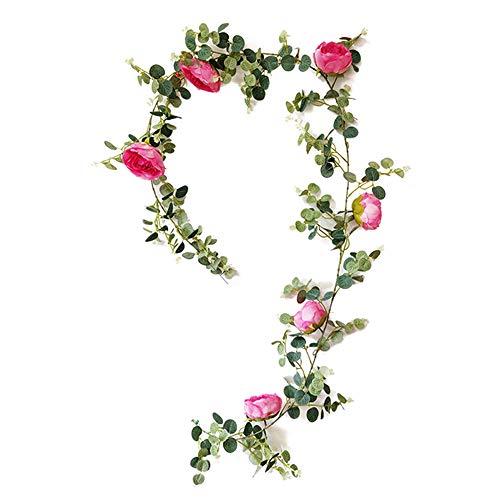 Heritan Flores artificiales de eucalipto, hojas de peonía, flores de vid, verdes y hiedras colgantes para el hogar, boda, decoración de valla de pared, una