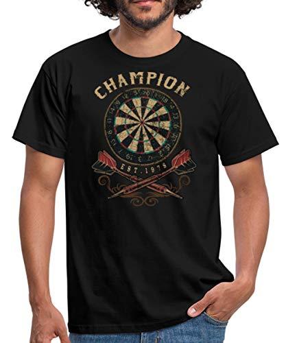 Dart Champion Flat Retro Look Sport Männer T-Shirt, S, Schwarz