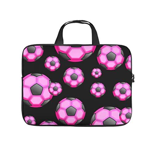 Facbalaign Funda para portátil con asa, diseño de fútbol, color rosa, blanco, 10 pulgadas,