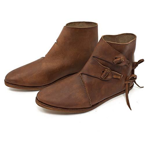 Vehi Mercatus Wikinger-Schuhe oder Mittelalter-Schuhe doppelt besohlt Dunkelbraun Gr. 46