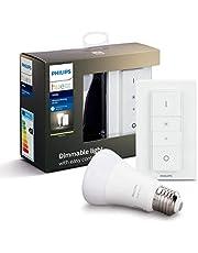 Philips Hue Draadloze Dimmerset - E27 - Duurzame LED Verlichting - Warmwit Licht - Incl. dimmer switch - Dimbaar - Verbind met Bluetooth of Hue Bridge - Werkt met Alexa en Google Home