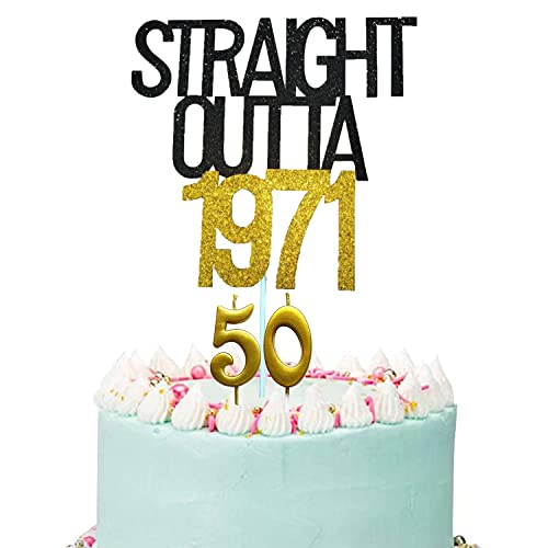 Straight Outta 1971 Cake Topper, Gold and Black 50th Birthday Cake Topper with Number 50 Candles, 50th Birthday Candles,Cheers to 50 Years, 50 Fabulous for Women Men 50th Birthday Party Decorations