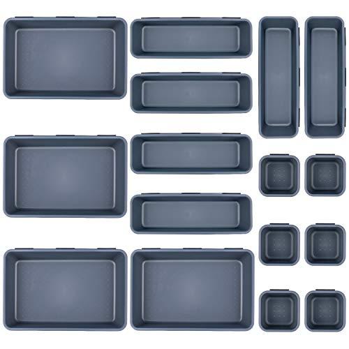 Gvoo Schubladen Veranstalter,Schubladenfach Organizer Multifunktional Aufbewahrungsbox Organizer für Schubladen 16 PCS Aufbewahrungsboxen für Küche Büro Schminktisch