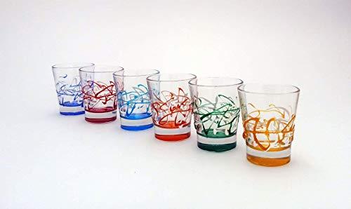 Set von 6 Schnapsgläsern Kurzer Schuss Jazz von Hand bemalt Glas Murano Venedig Stil