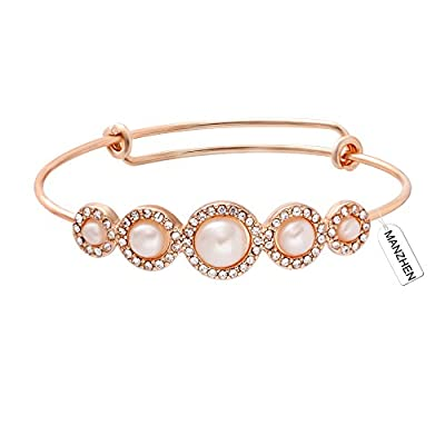 MANZHEN Expandable Adjustable Wire Bangle Bracelets with Rhinestone Pearl Bridesmaid Gift (Rose Gold)