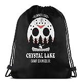 LREFON Camp Crystal Lake Counselor Verano 1980 Mochila Deportiva Mochila con cordón Bolsa de Gimnasio Saco